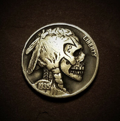 Hobo Nickel Skull Hand Carved Buffalo Zombie 1935 Coin by Patrick Shanahan #6b