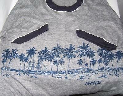 Vintage Sportswear Hawaii Blue T-Shirt Poly-Cotton-Rayon Nos Double Sided