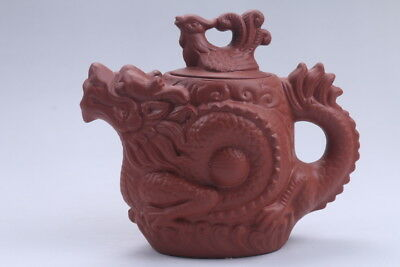 Exquisite Chinese Hand carving(dragon )Yixing red stoneware teapot aa558