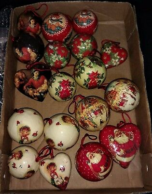 Vintage Paper Mache Christmas Ornaments Lot Of 18