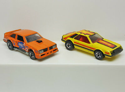 Lot of 2 Vintage 1970's Hot Wheels BW's - Flat Out Olds 442 & Ford Turbo Mustang