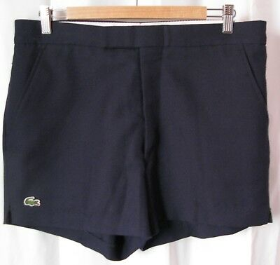 Women's Men's IZOD LACOSTE Navy Blue High Waisted Vintage Polyester Shorts EUC