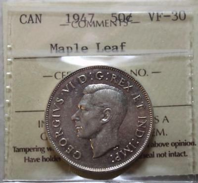 Canada 1947 Maple Leaf Silver 50 Cents, ICCS VF30 Graded, Key Date KGVI