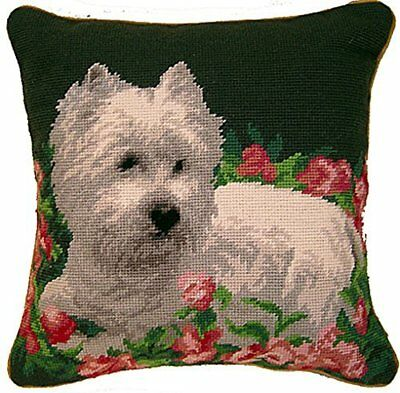 West Highland White Terrier Dog Needlepoint Pillow - 14""