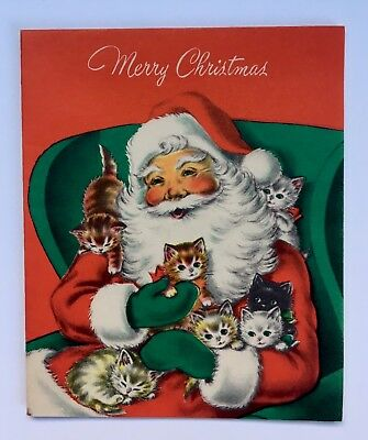 Vintage Norcross Christmas Card Santa Claus Chair Hat Mitten Cute Kitty Cat Bow
