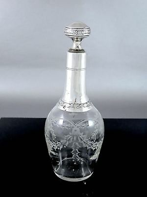 Antique FRENCH CHARLES BARRIER .950 Sterling Silver Crystal LIQUOR DECANTER