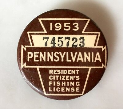 Vintage 1953 PA Resident Fishing License Badge Button GREAT CONDITION
