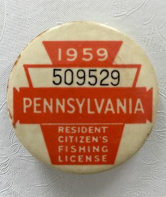 Vintage 1959 PA Resident Fishing License Badge Button GREAT CONDITION