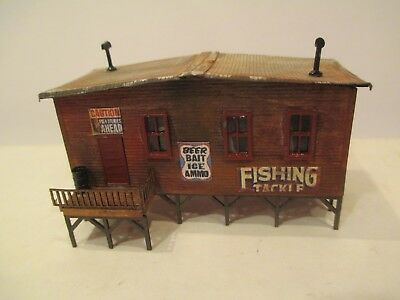 Waterfront Bait Shop Detailed & Weathered Wood Construction N Scale Building