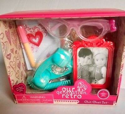 Our Generation Telephone Retro Chit Chat Set 18 inch Doll Accessories Amer Girl