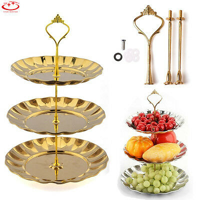3 Tier Cake Cupcake Plate Stand Handle Hardware Fitting Holder Gold Crown