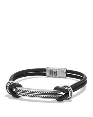 David Yurman Maritime Rubber Reef Knot ID Bracelet in Black Size L Retail $450