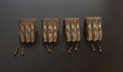 4 Vintage Brass Lion Claw Paw Foot Table Leg End Caps Covers Furniture Leg