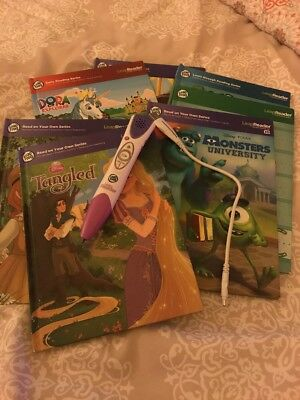 LeapFrog LeapReader Pen Lot With 7 Books And USB