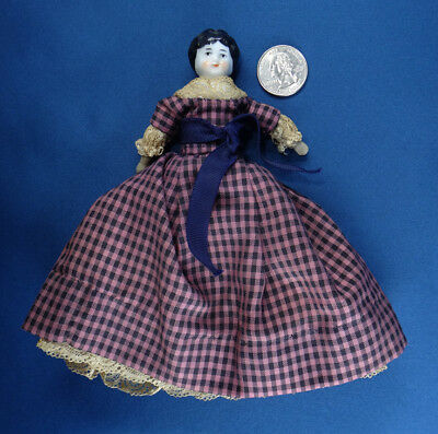 """antique GERMAN DOLL china shoulder head 9"""" tall low brow BLACK MOLDED HAIR"""