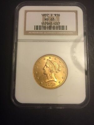 1902 S $10 Gold Liberty Head Eagle NGC MS 63 - Beautiful Luster
