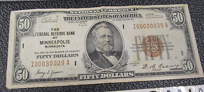 1929 National Currency $50 Federal reserve bank of Minneapolis