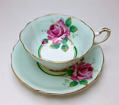 Paragon Double Warrant  Large Pink Cabbage Rose Bone China  Tea Cup & Saucer