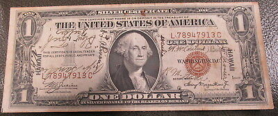 1935A Hawaii Silver certicate $1 signatures all over