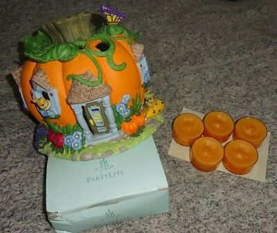 partylite halloween pumpkin tealight harvest candle house 5 free spice candles