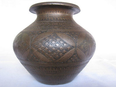 An old Hindu Traditional Ritual Brass lota or vase Collectible hand carving