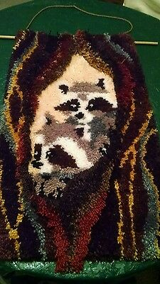 racoon hanging rug 30 by 18 inches used