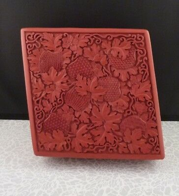 Chinese Carved Red Cinnabar & Black Lacquer Diamond Shaped Box - Unique Design!