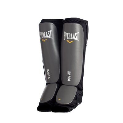 Everlast Black New Mixed Martial Arts Shin Guards Non Slip Padded (Large/X-L)