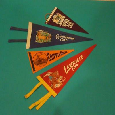 Vintage Felt Pennants Lot Colorado Cripple Creek Leadville Grand Junction ++