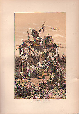"""1881 COLOR LITHOGRAPH """"The Corpse"""" BURIAL CUSTOMS OF NATIVE AMERICAN INDIANS"""