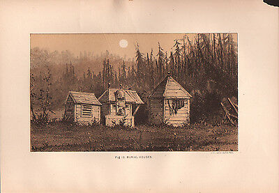 """1881 COLOR LITHOGRAPH """"Burial Houses"""" BURIAL CUSTOMS OF NATIVE AMERICAN INDIANS"""