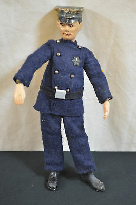 Antique Bucherer Swiss Jointed Metal Doll Policeman 1596 #23
