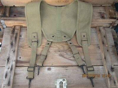 100%Orig WWII WW2 RARE NOS Suspenders Harness Corpsman Medic Bag Pouches BAR #5