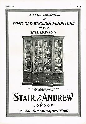 1925 BIG Vintage Stair & Andrew NY Chippendale Bookcase Furniture Photo Print Ad