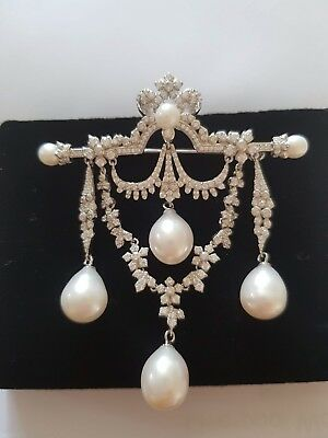 Wedding Pearl brooch With silver and cubic zirconia, victorian Bridal Brooch