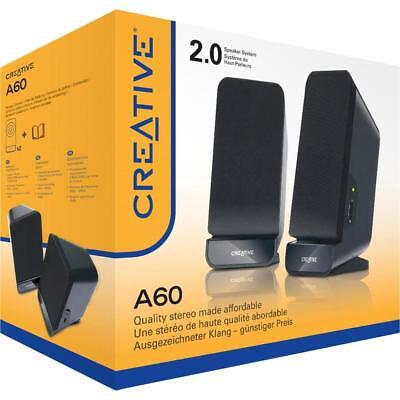 CREATIVE Speaker Set 2.0 SBS A60 Powered Quality Sound PC MAC 3.5mm MF1635 F45