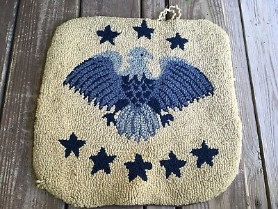 Antique Hooked Pillow Cover Eagle Americana Folk Art Primitive