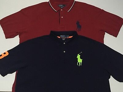 Lot of 2 Polo Ralph Lauren Men's Big Pony Polo Shirts 2XL Tall Red Navy Blue #3