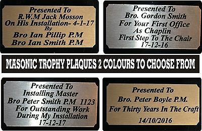 MASONIC ENGRAVED FREE NAME PLATE PLAQUE TROPHY AWARD 100mm X 35mm SILVER or GOLD