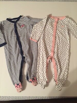 Carter's Girl Size 9 Month Sleepers Lot Of 2