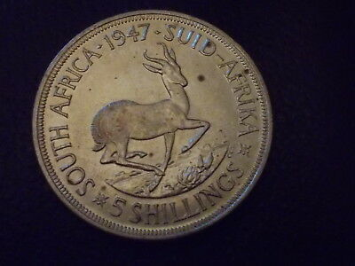 1947 GEORGE IV South Africa 5 Shillings Silver Foreign Coin