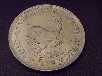 1953 ELIZABETH II South Africa 5 Shillings Silver Foreign Coin
