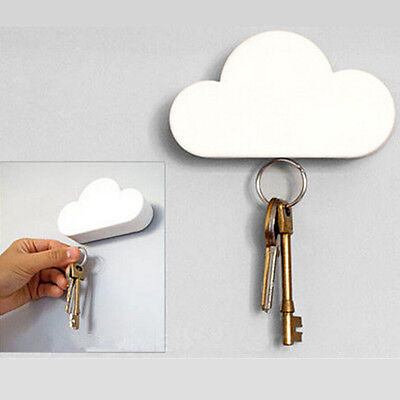 Creative Cloud-shaped Magnetic Keychain White Cloud Novelty Wall Key Holder NEW