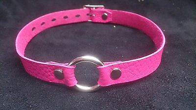 HOT PINK Leather O-Ring CHOKER Collar restraint dog steam punk necklace
