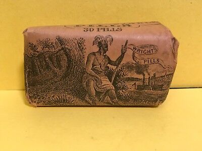 """Antique WRIGHT""""S INDIAN VEGETABLE Pills Full Packet NICE A MUST SEE"""
