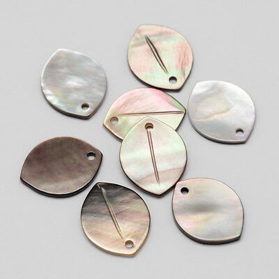 50pcs Precious Oval Black Lip Natural Shell Pendants Mixed Color Charms 18x14mm