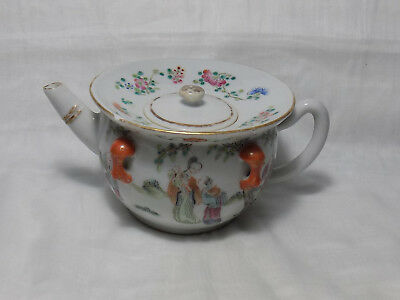 Chinese 19thC Porcelain Teapot 9 figures 2 Babies Outdoor Scene Marked