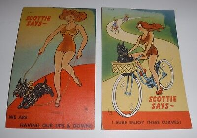2 Vintage Postcards SCOTTISH TERRIERS Scottie Dogs w Cute Pin Up Girls