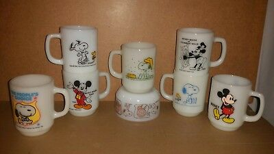 8 Vintage Fire King Anchor Hocking Snoopy And Mickey Mouse Mugs