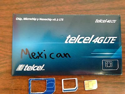 telcel Mexico  Sim card Prepaid Go works in USA,Mex, Free shipping